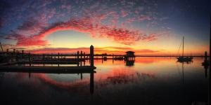 S/V Laurel (far right) leaving St. Augustine at sunrise